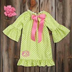 Green Polk-A-Dot Dress with Pink Bow