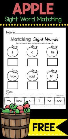 SIGHT WORD freebie - cut and paste worksheet to read and match sight words - FREE WORKSHEET for kindergarten and back to school #kindergarten #kindergartenworksheets #sightwords