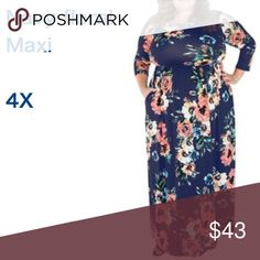 """Women 3/4 Sleeve Floral Print Maxi Dress & Pockets Navy 4X measurements XXXXL: Bust: 50.4""""--Waist: 41.7""""--Hip: 54.3""""--Length: 59.4""""----Style: Maxi Dress  Floor Length  Round Neck  3/4 Sleeve  Empired Waist  Floral Flowers Print  Pockets Beside Pull On, Easy to Take On and Off  Navy Blue Hand Wash / Machine Wash Seperately, No Bleach, Flat Dry Suggestion  Material: Milk Silk, Polyester and and Spandex, Super Stretch, Lightweight and Comfortable, Classical beautiful floral printed design, long…"""
