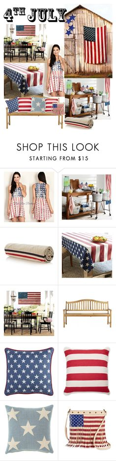 """July 4th Barn Style"" by mommastephud ❤ liked on Polyvore featuring Moncler, Safavieh, Pier 1 Imports, Surya, Fresh American, redwhiteandblue and july4th"