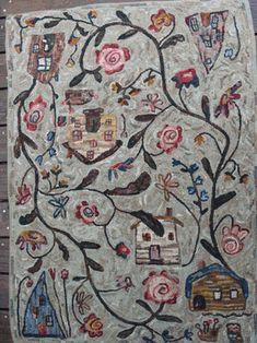 Northwest Folk Design by Marijo Taylor Hooked Rugs Rug Hooking Kits, Rug Hooking Patterns, Vinyl Storage, Rug Inspiration, Cool Rugs, Traditional Rugs, Large Rugs, Beautiful Patterns, Rug Size