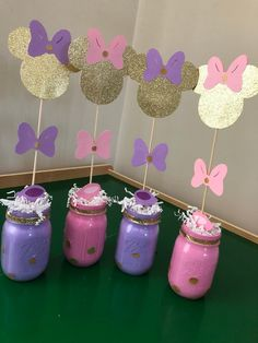Items similar to Minnies bowtique centerpieces on Etsy Minnie Mouse Party Decorations, Minnie Mouse Theme Party, Minnie Mouse Baby Shower, First Birthday Decorations, Birthday Party Centerpieces, Girl Baby Shower Decorations, Barbie Birthday Party, Minnie Birthday, Birthday Parties