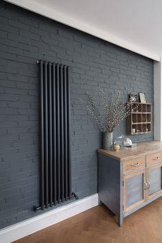 Ideas For Kitchen Grey Brick Interior Design House Design, Brick Kitchen, Radiators Modern, Brick Interior Wall, Painted Brick Walls, Kitchen Wall Colors, Rustic Kitchen, Painted Brick, Brick Interior