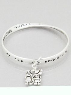 NWT Mothers day gift idea mom song engraved twist mobius charm bangle bracelet #EarringsOfTheDay #Bangle