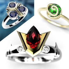 Level up your geeky jewellery collection with one of these amazing Spiritual Stone rings! Inspired by the stones from the Ocarina of Time, these gems are made from a professional jeweller and don't require any boss fights to obtain. Zelda Ring, Zelda Gifts, Cute Couple Gifts, Geek Wedding, Wedding Goals, Hand Sculpture, Geek Jewelry, Jewlery, Pokemon