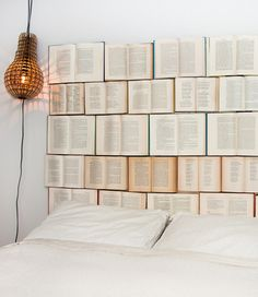 How wonderful is this book headboard?  And the lamp!  I want!