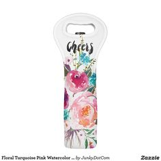 Floral Turquoise Pink Watercolor Bouquet Wine Bag