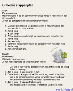 Ontleden stappenplan Skills To Learn, Play To Learn, Learn Dutch, Dutch Language, School Levels, Spelling And Grammar, Kids Education, Kids Learning, Middle School