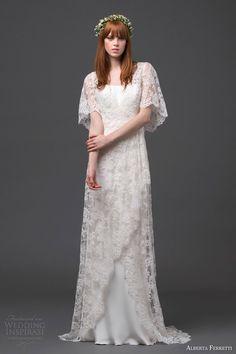 alberta ferretti bridal 2015 lace wedding dress flutter sleeves antares