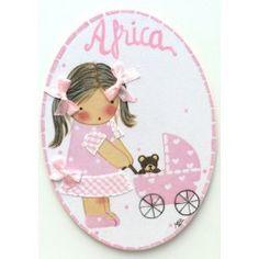 Miniplaca Niña Carrito Rosa Miniplaca Bebé Celeste #decoracion #infantil #bebe #habitacion