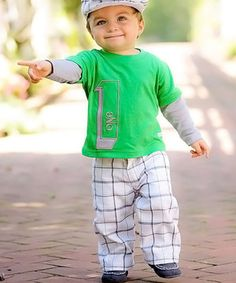 Another great find on #zulily! White & Green Plaid Golf Pants - Toddler & Boys by RuggedButts #zulilyfinds