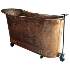 Antique French Copper Bath Victorian 19th Century Casters | From a unique collection of antique and modern bathroom fixtures at https://www.1stdibs.com/furniture/building-garden/bathroom-fixtures/
