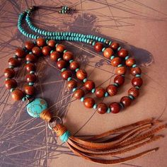 Leather Tassel Necklace withTurquoise and Wood