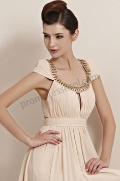 champagne round neck cap sleeves a-line chiffon long classical prom dress SO168