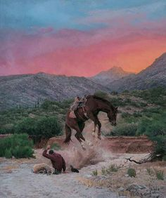Re-naming His Horse. Bill Owen ~ The Cowboy Artist location is the DG Ranch, north of Wickenburg, AZ-SR Native American Art, American Artists, Cowboy Artwork, Art Pictures, Photos, Photographs, Cowboy Horse, Le Far West, Mountain Man