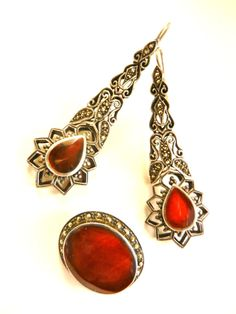 Gorgeous vintage glamour marcasite and carnelian by RAKcreations
