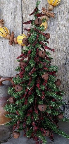 RAG CHRISTMAS TREE W/ RUSTY BELLS * PRIMITIVE COUNTRY DECOR INTERIOR FARMHOUSE #PRIMITIVE #ECHINACEAFARMS