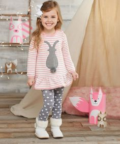 Pink & Gray Bunny Sweater & Tights - Infant & Toddler #zulily #zulilyfinds