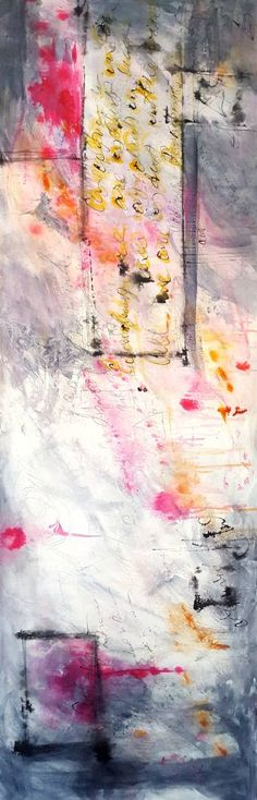 "Saatchi Art Artist Laura Spring; Painting, ""Large Pink, Gold and Black abstract 72""x24"""" #art"