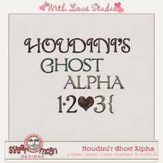 Houdini's Ghost Alpha from Sugar Moon Designs perfect for digital or hybrid scrapbooking, These fun alphas can be used in lots of fun creative projects.