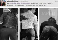 Exactly what is going on with Jared's ass? Did someone chalk outline his butt? Is there a dead person in his pockets?-> Assbutt | Supernatural