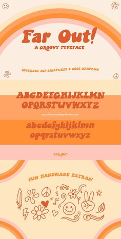 font Dig this groovy font, Far Out ~ Inspired by the Flower Children of the and ~ Includes 22 hand drawn graphics to elevate your hip designs! 60s Font, Groovy Font, Retro Font, Typography Alphabet, Vintage Typography, Typography Fonts, Hand Drawn Typography, Typography Images, Hand Drawn Fonts