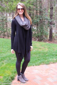 Gray Infinity Scarf and Leggings. Cute winter fashion outfit inspiration.  Fringe booties with gray leggings.  Casual outfit inspiration and everyday fashion for women. | Running in a Skirt