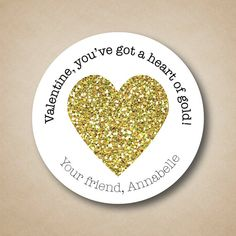 Gold Glitter Heart Valentines Stickers Heart of by StickEmUpLabels #goldglitter