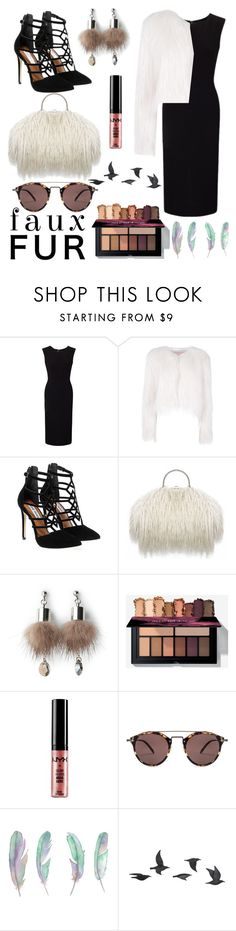 """""""Fur 💚"""" by elisabethcikaa ❤ liked on Polyvore featuring Roland Mouret, Giamba, Steve Madden, Simons, NYX, Oliver Peoples and Jayson Home"""