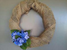 Burlap blue hydrangea wreath