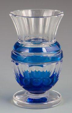 BLOWN AND HAND CUT VAL ST LAMBERT BLUE GLASS URN : Lot 37126
