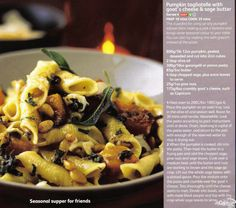 Pasta tagliatelle with goats cheese and sage butter (magazine scan)