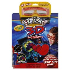 Crayola Coloring Kit 1 kit by Crayola. $11.49. 6+. 12-page tablet, marker, slick stix, 3-D glasses. Includes All This: 12 scenes; 1 marker; 1 slick stix, 1 pair 3-D glasses. Create eye-popping 3-D scenes. 3-D glasses make scenes leap off page! Trace lines, surprising scenes appear! Nontoxic. Crayola Color Explosion lets you create swirls of surprising colors with one clean marker! Color Explosion 3-D provides a twist - images that leap from the page in cool 3-D effects! ...
