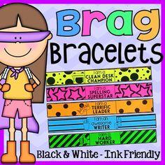 Brag Bracelets - Ink Friendly Black and White