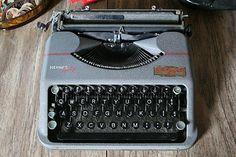 Vintage Gray Hermes Baby Portable Typewriter