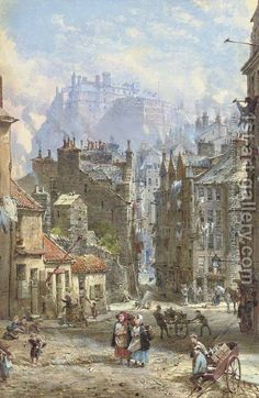 The painting is called View of the Half Moon Battery of Edinburgh Castle from Candlemaker Row by Louise Rayner Art Gallery, Half Moon Street London, Cityscape, Painting, Fantasy Landscape, London Painting, Art, Pictures, Scenery