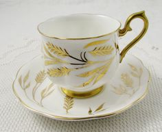 Royal Albert Tea Cup and Saucer with Gold Wheat, Vintage Bone China, Made in England