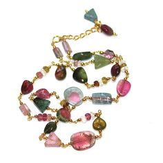 Watermelon Tourmaline Necklace Watermelon Slice by FizzCandy