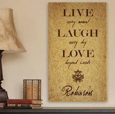 Personalized Live Every Moment Canvas Print Family Canvas