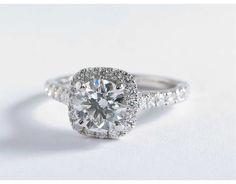 1 Carat Diamond Cushion Halo Diamond Engagement Ring | Blue Nile Engagement Ring