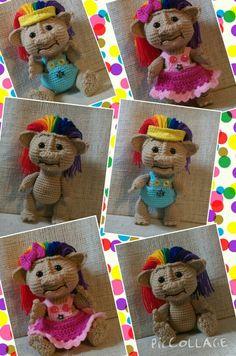 Crocheted Rainbow haired Troll!