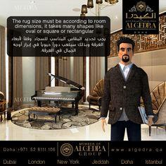 The rug size must be according to room dimensions, it takes many shapes like oval or square or rectangular يجب تحديد المقاس المناسب للسجاد وفقآ لأبعاد الغرفة وبذلك سيلعب دورآ حيويآ في إبراز أوجه الجمال في الغرفة.  #ALGEDRACharacter #Character #Tips #Animation #ALGEDRA #ALGEDRAInterior #Qatar #Doha #QatarDesign #QatarInterior #QatarDesigner #الكيدرا #الكيدرا_للديكور #تصميم_الكيدرا #ديكورات_الكيدرا #تصاميم_الكيدرا