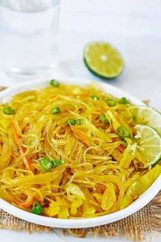Pancit Bihon is a traditional Filipino dish, this delicious version is made with rice noodles, vegetables, and baked tofu.
