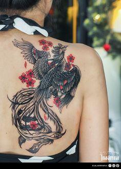 Klai Jakkawan Tattoo Studio / Tattoo by Armata phoenix tattoo Phoenix Tattoo Feminine, Tribal Phoenix Tattoo, Phoenix Bird Tattoos, Phoenix Tattoo Design, Japanese Phoenix Tattoo, Phoenix Back Tattoo, Leg Tattoos, Sleeve Tattoos, Feather Tattoos