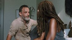 Reveling in Richonne The Thank You Rick reveres Michonne. Like it goes beyond appreciation, he has a grand reverence for her, as he should, and it's a beautiful thing to behold. Walking Dead Show, Walking Dead Series, Rick And Michonne, Andy Lincoln, Take That, Dreadlocks, In This Moment, Hair Styles, Beauty