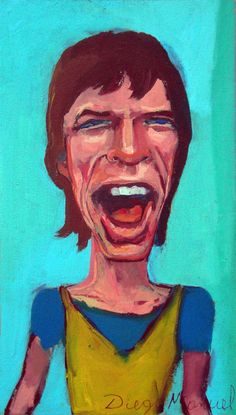 Mick Jagger 2b, acrílico sobre tela, 30 x 15 cm. 2015. Painting for sale by Diego Manuel