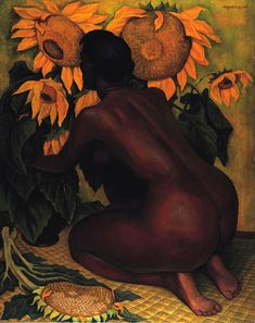 Nude with Sunflowers, 1946 - Diego Rivera (Mexican, Art Deco Diego Rivera Art, Diego Rivera Frida Kahlo, Frida And Diego, Van Gogh Sunflowers, Modigliani, Mexican Artists, Guache, Mural Painting, Paintings