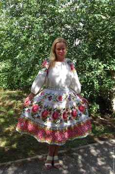 """Купить Юбка в фольклорном стиле """"Цветочная"""" - комбинированный, орнамент, многоярусная юбка, юбка миди"""