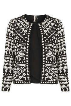 Holiday Wardrobe Staple: TOPSHOP Chevron Beaded Crop Jacket $240