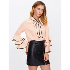 SheIn(sheinside) Bow Neck Wave Lace Trim Layered Sleeve Blouse ($17) ❤ liked on Polyvore featuring tops, blouses, pussy bow blouses, bell sleeve tops, neck-tie, bell sleeve blouse and pink blouse